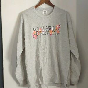 New VS Pink bling long sleeve campus tee size L